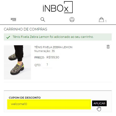 cupom inbox shoes